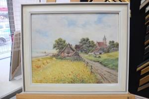 Gemälde eines Fachwerkhauses am Getreidefeld mit cremefarbenem Plattenrahmen