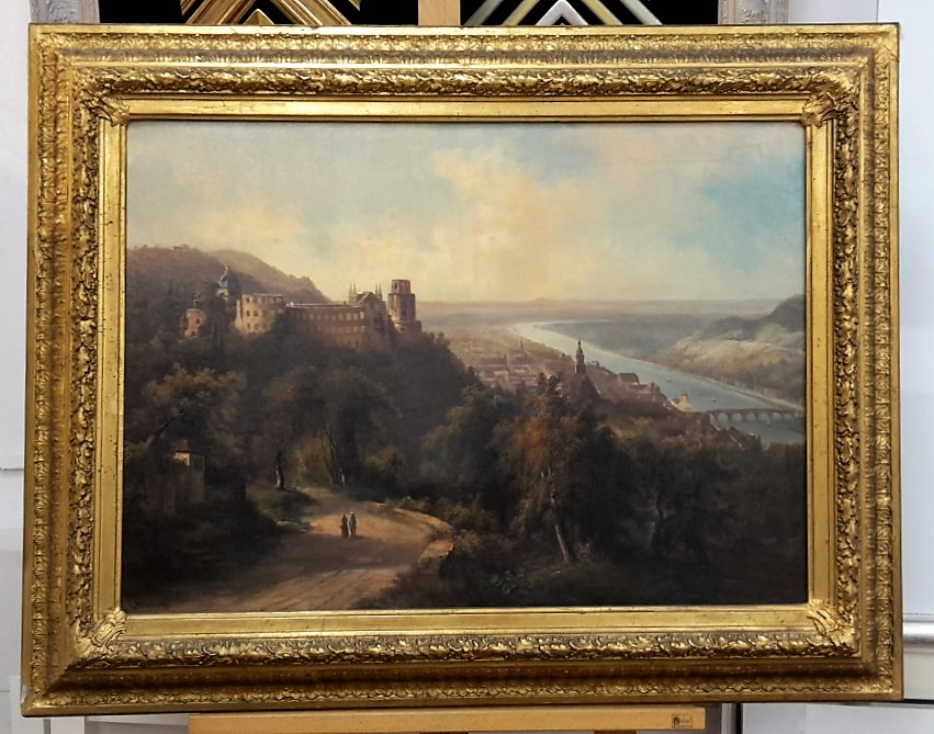Restauriertes Gemälde mit Goldrahmen